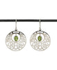 Sterling Silver Filigree Disk Earrings with Peridot