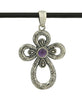 Engraved Sterling Silver Cross Pendant with Amethyst