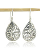 Feathers and Scales Sterling Silver Teardrop Earrings