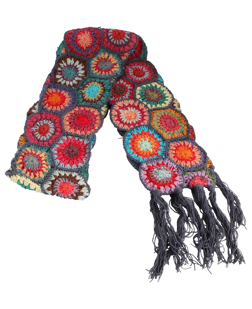Vintage Inspired Crochet Hexagon Scarf, Nepal