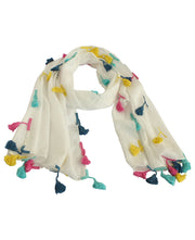 White Shawl Scarf with Colorful Boho Trim, India