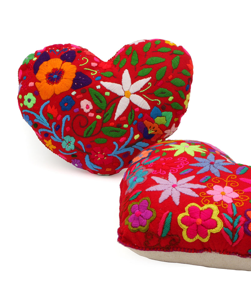 Embroidered Corazon Heart Pillow, Mexico