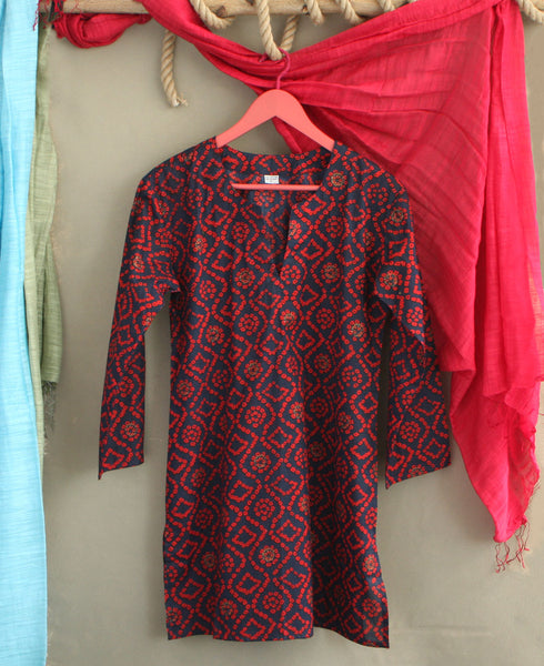 Women's Navy and Red Bandhani Kurta Tunic, India