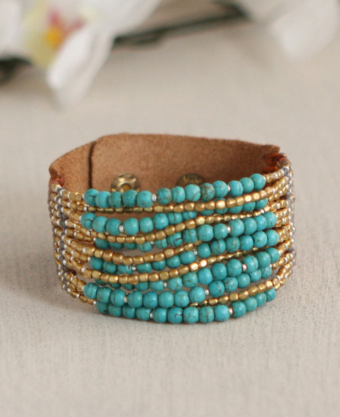 Ocean Currents Turquoise Beaded Bracelet, Thailand