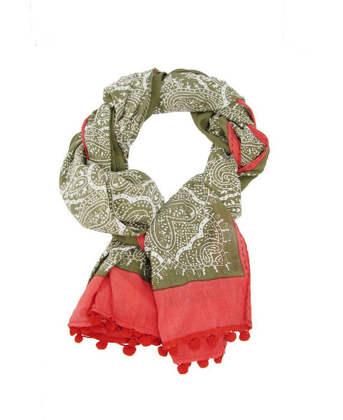 Cotton Paisley Border Scarf with Pom-Poms, India