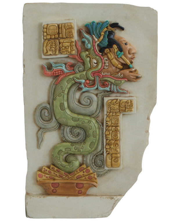 Colorful Mayan Vision Serpent Wall Relief