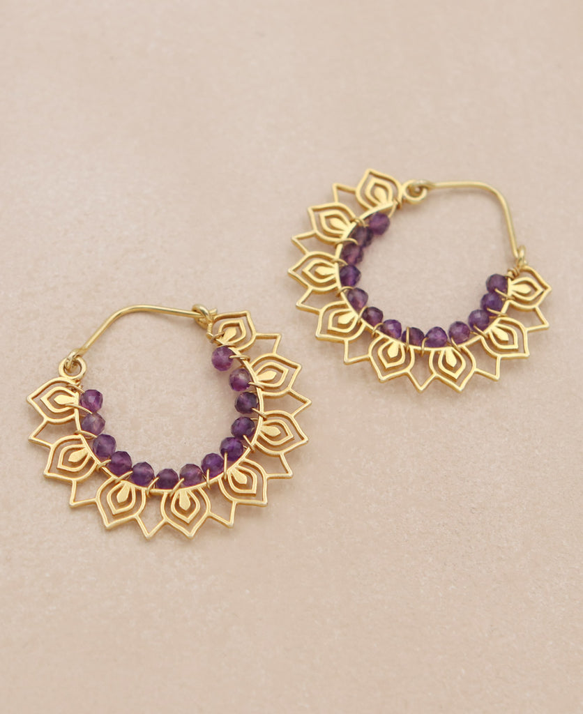 Gemstone Petal Hoop Earrings