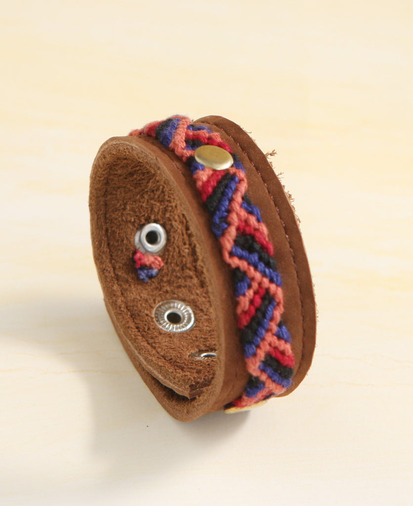 Guatemalan Woven Leather Snap Bracelet