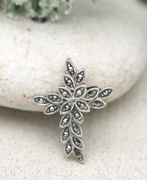 Garden Cross Pendant with Marcasite