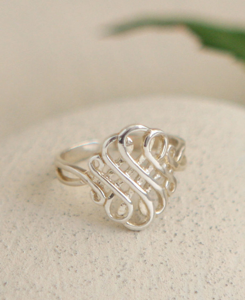 Eternal Knot Sterling Silver Lattice Ring