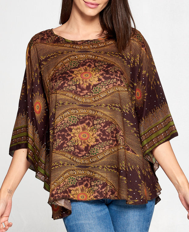 Brown Printed Poncho Top