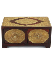 Embossed Brass and Wooden Drawers Tabletop Box or Pedestal