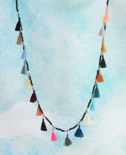 Multicolor Bali Tassel Necklace with Lava Beads, Indonesia