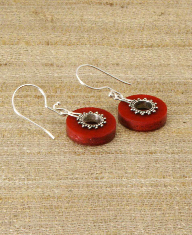 Ring of Fire Coral and Sterling Balinese Earrings