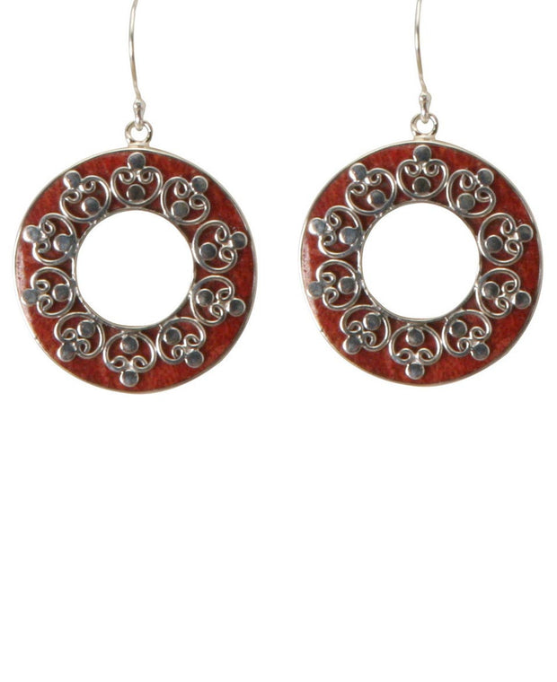 Coral and Sterling Earrings