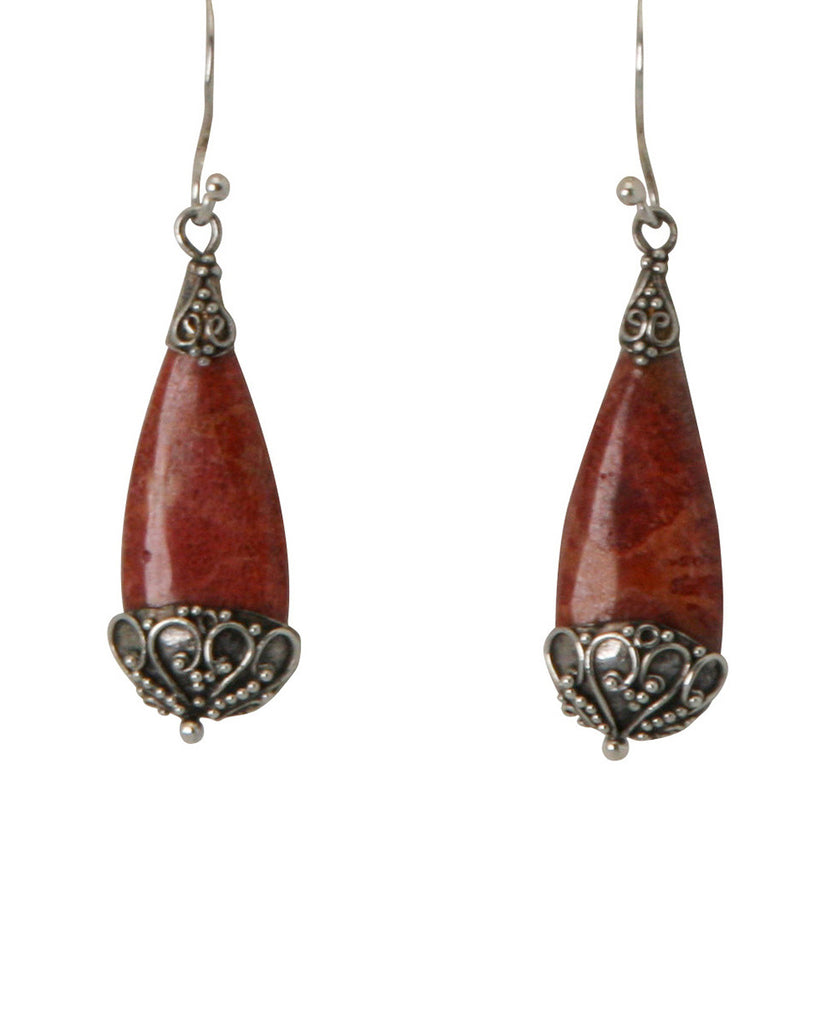 Scarlet Drop Sterling Silver and Red Coral Earrings