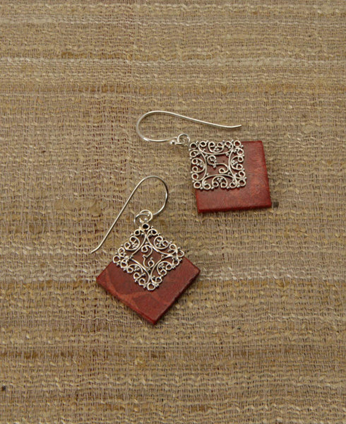 Red Rhombus Sterling Silver and Coral Earrings, Bali