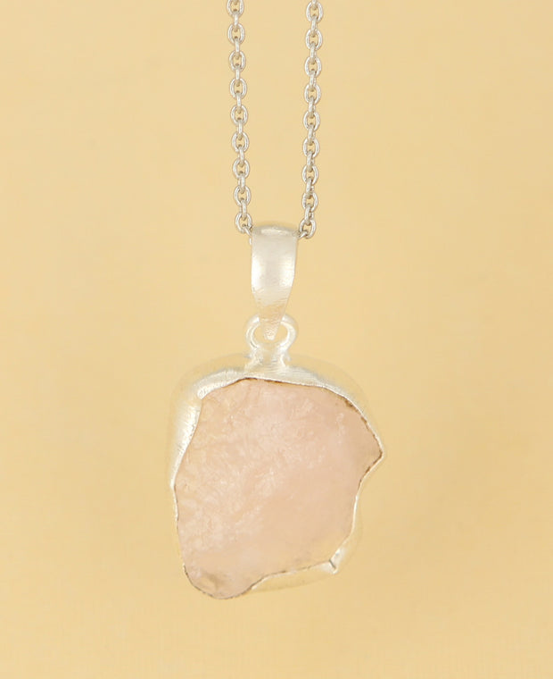 Raw Cut Rose Quartz Necklace