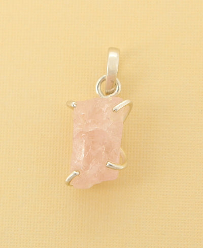 Raw Cut Rose Quartz Pendant