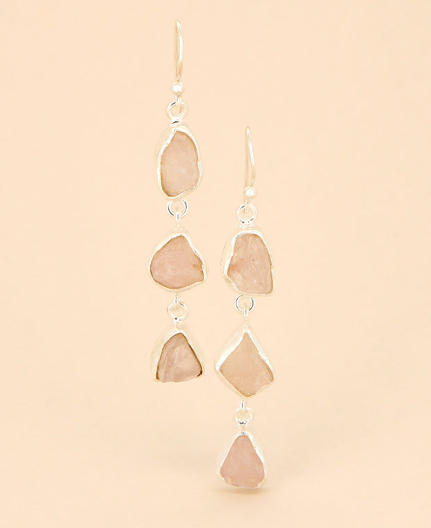 Raw Cut Rose Quartz Dangle Earrings