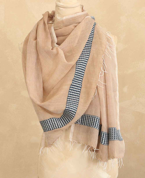 Fair Trade Geo-Weave Scarf in Powder Pink, Ethiopia