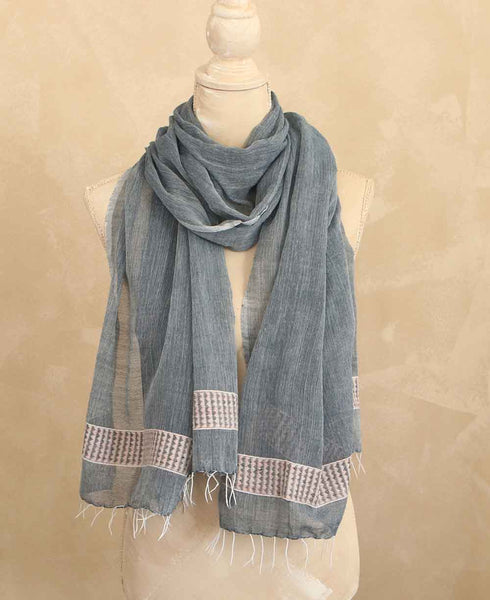 Fair Trade Geo-Weave Scarf in Steel Blue, Ethiopia