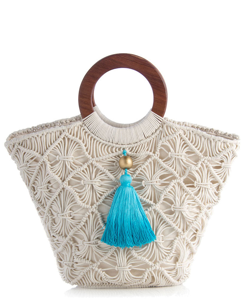 61c95c3f17f Macrame Tote Bag With Ombre Tassel, India – Cultural Elements