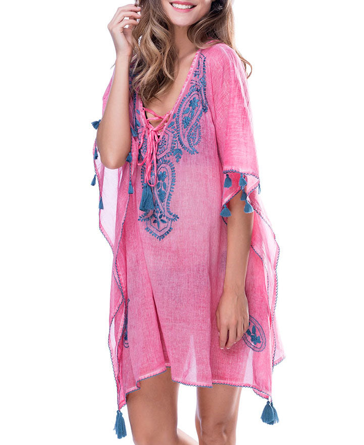 87d65bb5b8 Pretty In Pink Embroidered Beach Kaftan, India – Cultural Elements