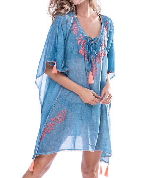 Embroidered Beach Caftan