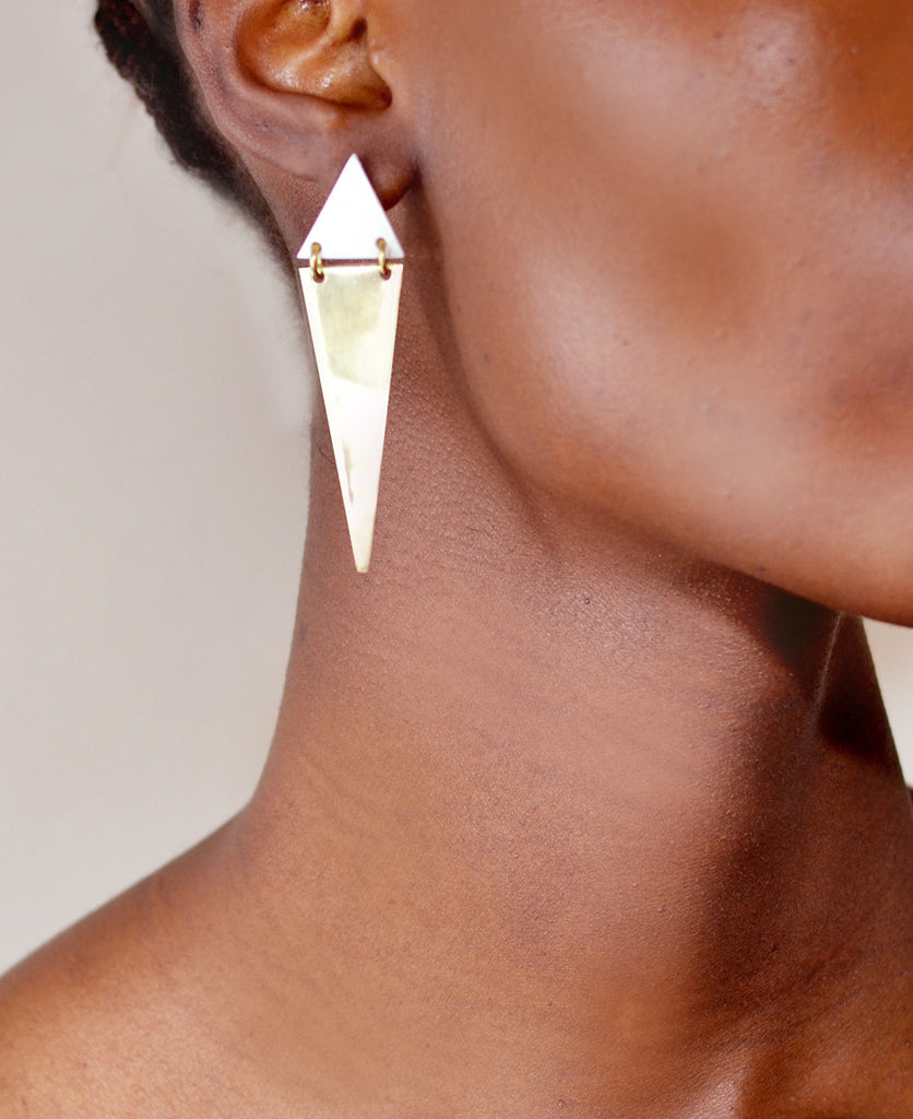 Bone and Brass Triangle Stud Earrings