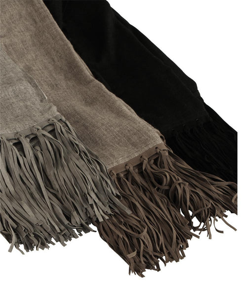 Hand Woven Cashmere Scarf With Leather Fringe, India