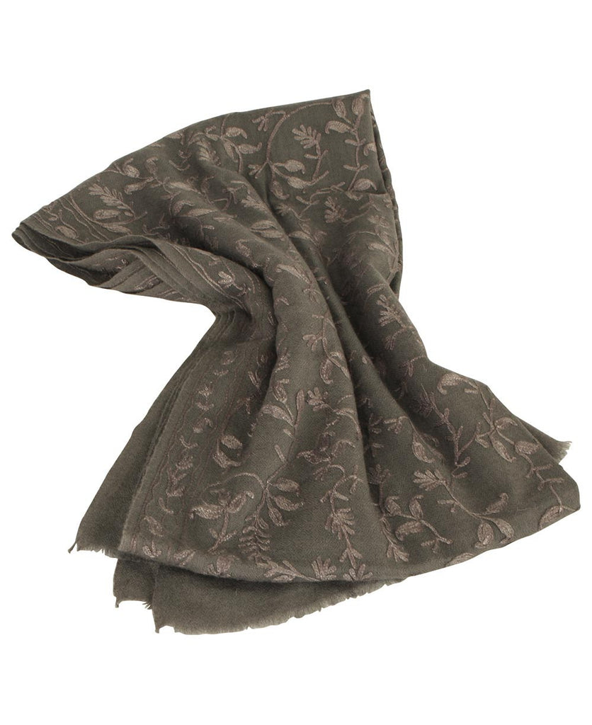 Embroidered Floral Cashmere Shawl, India