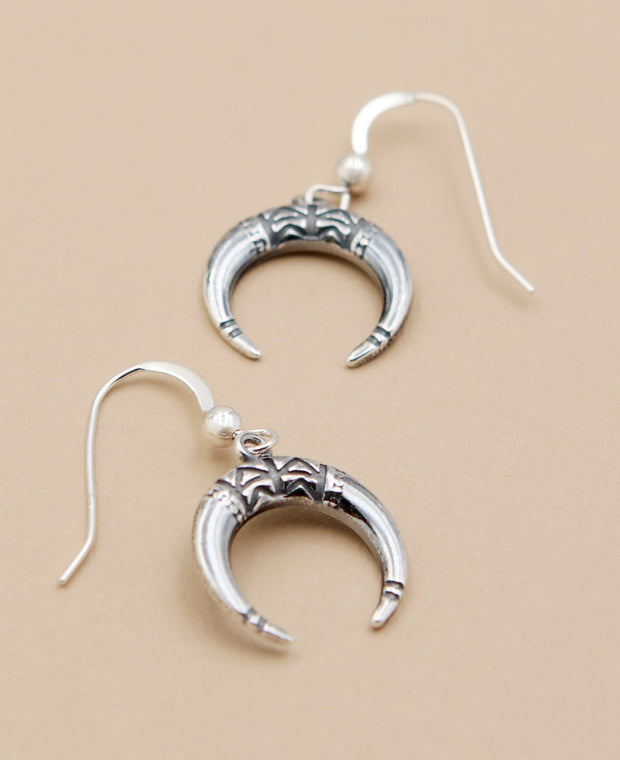 Silver Horn Tribal Earrings