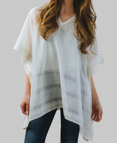 Ikat Poncho in Ivory White