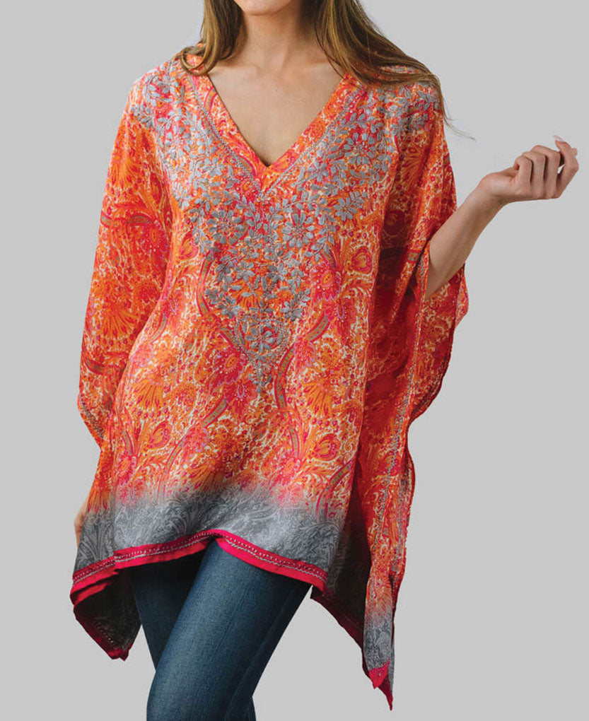 Embroidered Poncho Tunic