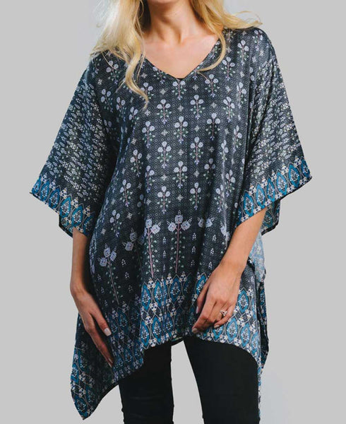 Fairtrade Sari Print Cupro Satin Poncho Top