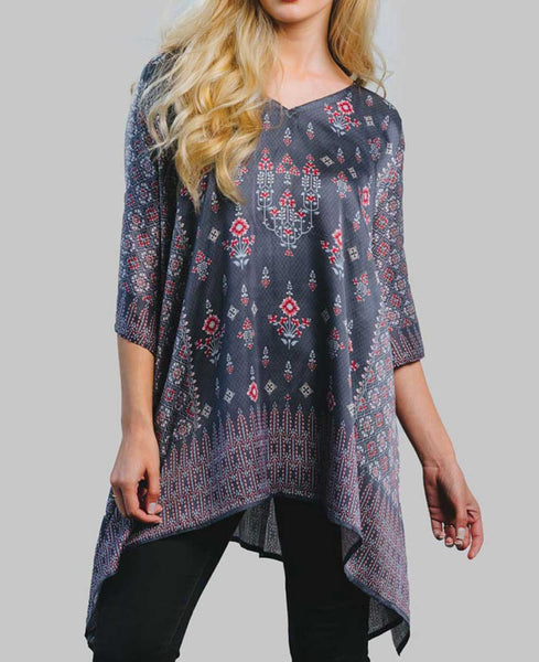 Printed Curpo Satin Poncho Top, Fairtrade