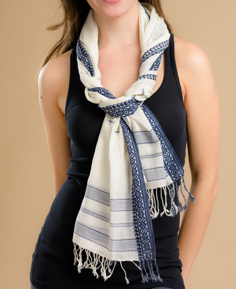 Fair Trade Striped Jamdani Scarf
