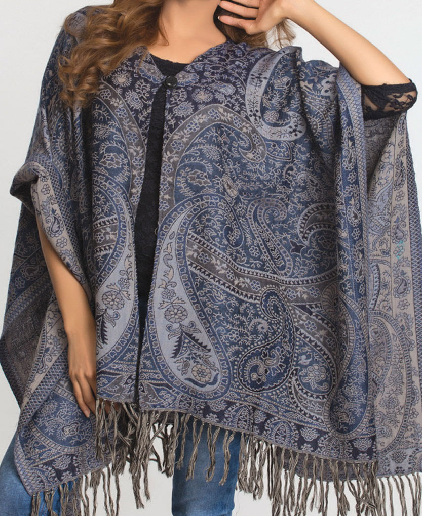 Fair Trade Paisley Poncho in Blue