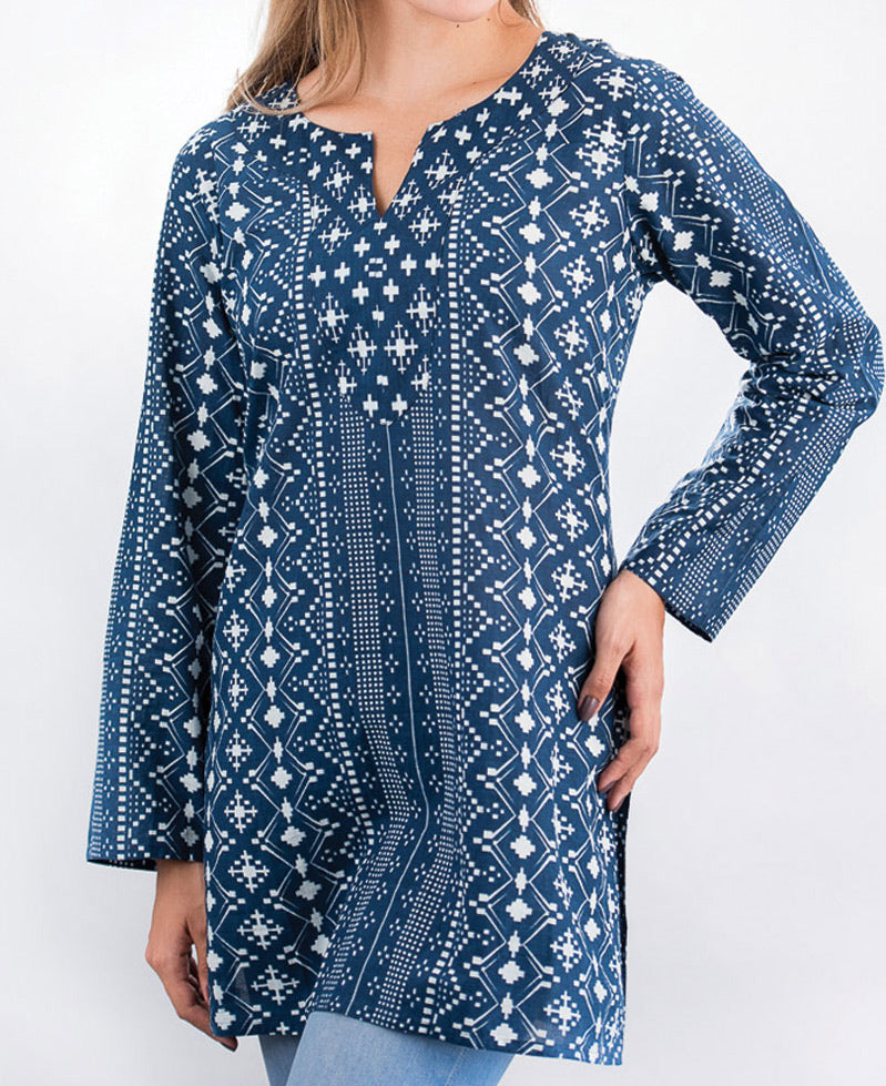 Women's Geometric Print Indigo Tunic Top, India