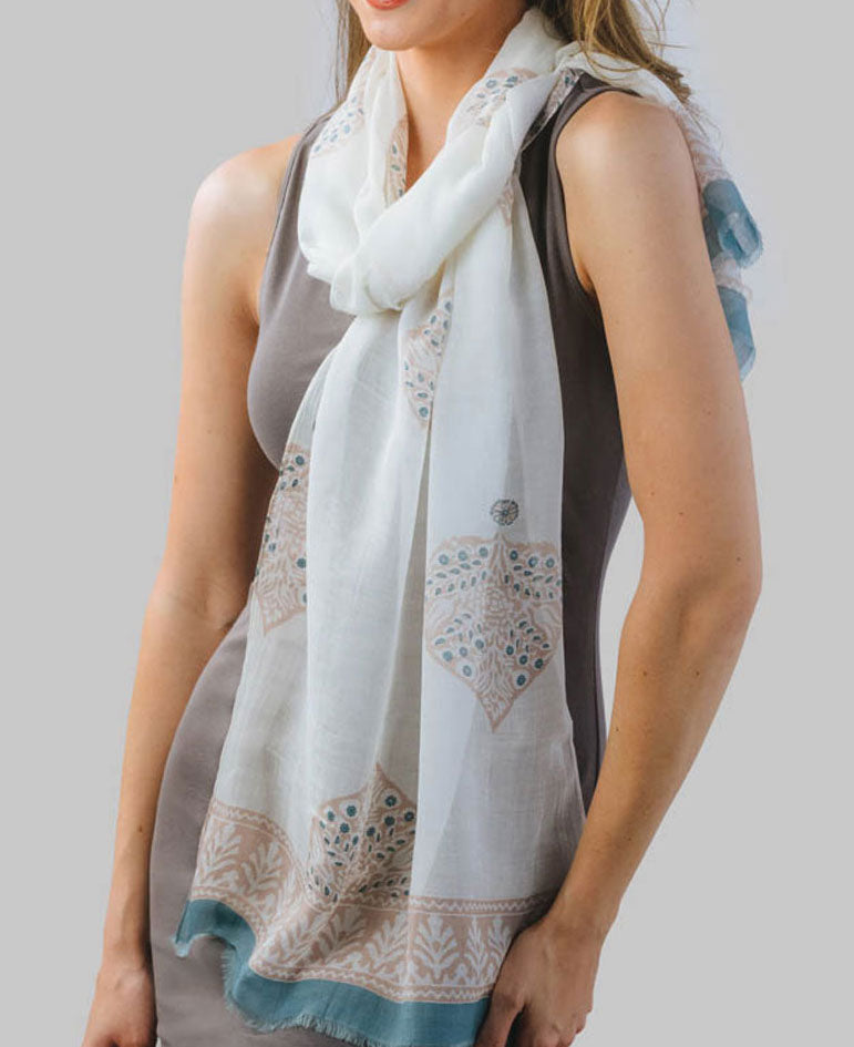 Fair Trade Floral Mughal Scarf, India