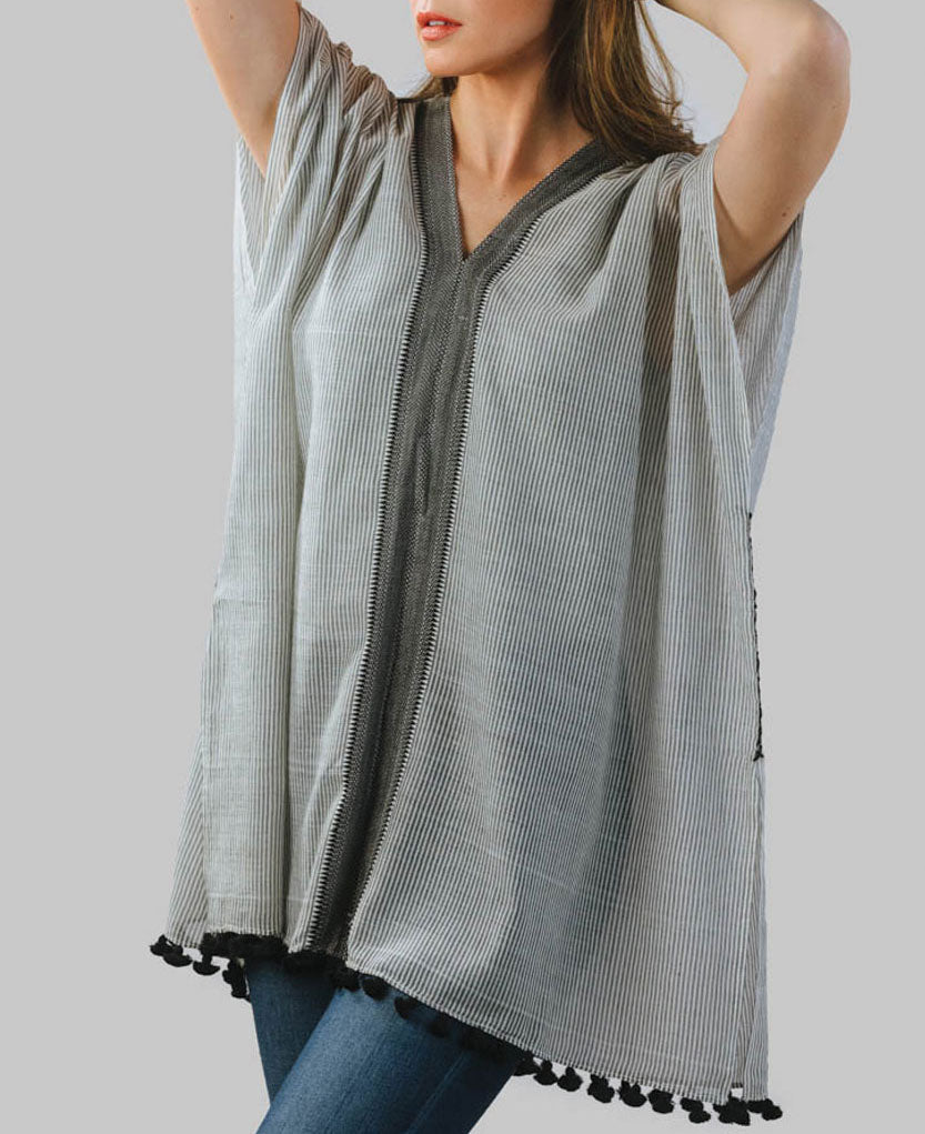 Fair Trade Striped Ravi Poncho in Grey
