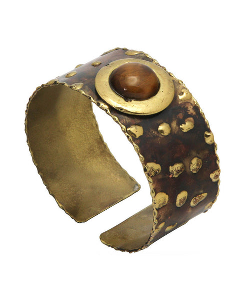 Leopard Spot Brass Bracelet with Tiger Eye Gemstone