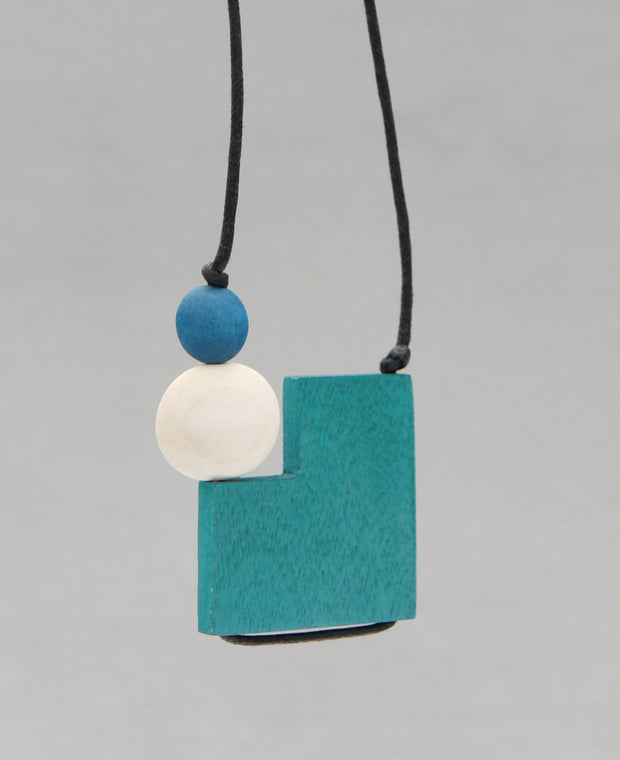 Square Teal Pendant Necklace