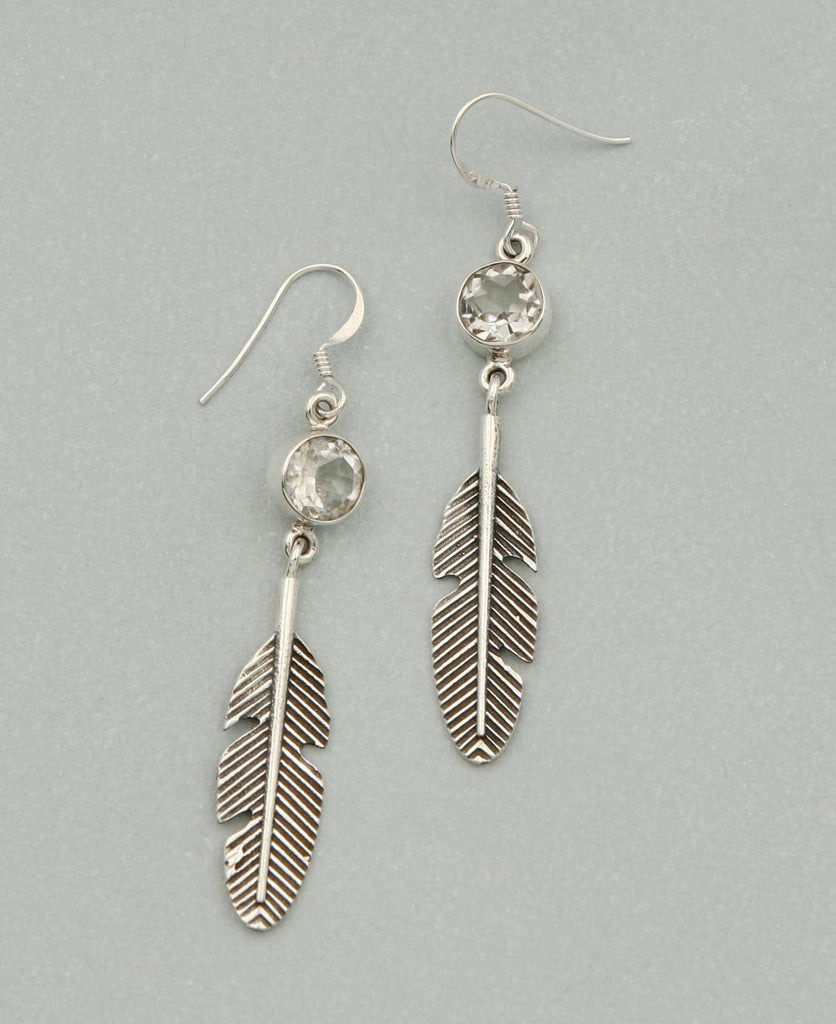 Sterling Silver and Gemstone Feather Earrings
