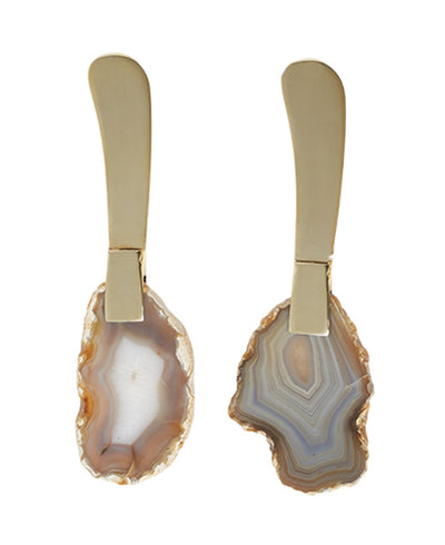 Agate Gemstone Spreading Knives, Set of 2