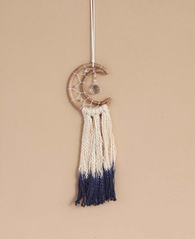 Miniature Moon Dreamcatcher in Indigo