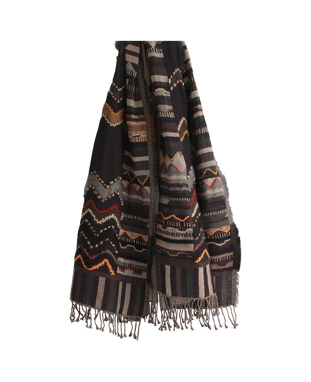 Premium Wool Chevron Tribal Shawl, India