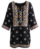 Embroidered Black Malti Tunic Dress, India
