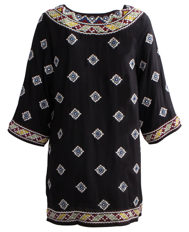 Embroidered Black Malti Tunic Dress,